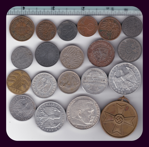 Free Lot Of 18 Rare German Coins Wwi Wwii Empire Weimar Silver