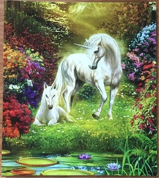 """BEAUTIFUL WHITE UNICORN with foal - 3 x 5"""" MAGNET"""