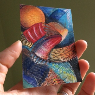 Original Artist trading card/ ATC/ ACEO: abstract painting / drawing /