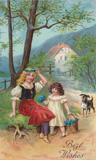 Vintage Used Postcard: Embossed: 1908 Best Wishes
