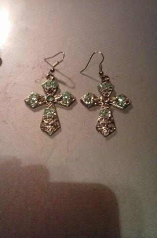 Beautiful studded cross earrings