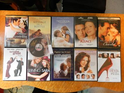 11 DVD Lot The Notebook Chocolat Devil Wears Prada DirtyDancing Bounce Office&Gentlemen+ FREE Ship!