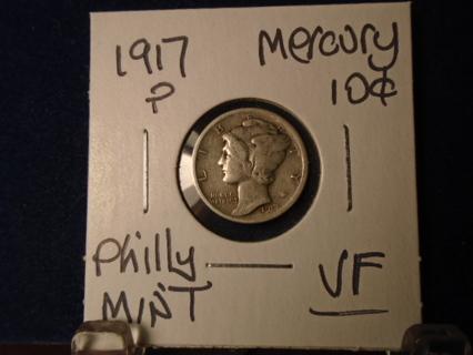 1917-P MERCURY SILVER DIME VF CONDITION!