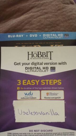 The hobbit: the desolation of smaug digital hd movie.