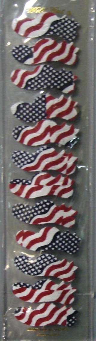 Pack of 12 Snail Shaped Stars and Stripes Hair Barrettes