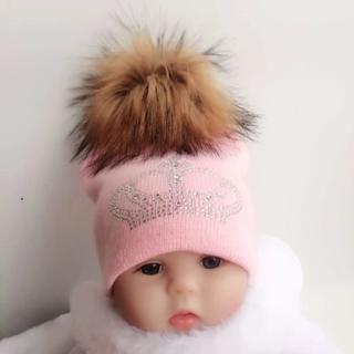 diamond embroidery baby knitted Warm Winter Wool  hat cap girl boy kids faux fur pompom children c