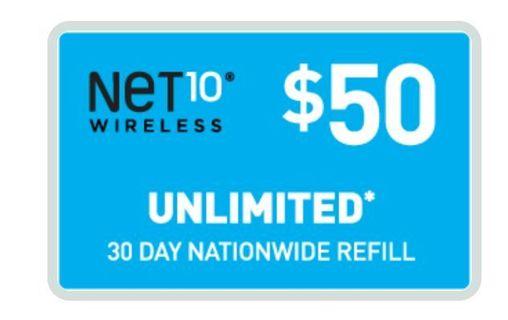 $50 net 10 air time card