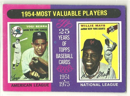 Yogi Berra Willie Mays MVP 1975 Topps #192 New York Yankees Mets no creases