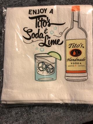 BNIP Tito's Handmade Vodka Taster Tea Towel. Free To Ship!