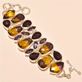 PRETTY BI-COLOR QUARTZ SILVER PLATED BRACELET