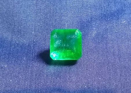 EMERALD SQUARE NATURAL FROM ZAMBIA HUGE 7.10 CARATS SIZE 11X11 MM'S BEAUTIFUL!