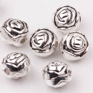 20Pcs Tibetan Silver Delicate Round Shape Rose Pattern Loose Spacer Beads 7mm