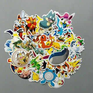 [GIN FOR FREE SHIPPING] 50Pcs Pokemon Charmander Squirtle Pikachu Bulbasaur Decal Sticker