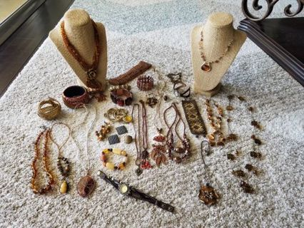 29 Pc. Tones of Autumn, Amber, neutral shades lot of jewelry. Don't miss this one!!