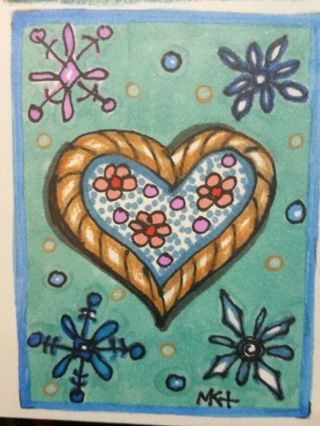 Winter Love - Valentine - #206-My Original MK Drawing ATC / ACEO print enhanced with gel pens
