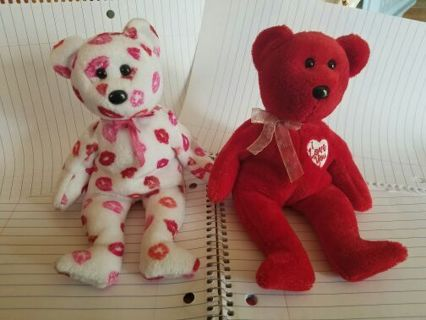 Valentines Ty Beanie Babies, without tags