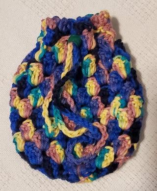 """Crochet Pull String Gift Bag**LQQK*** 5""""Tall 5"""" Diam"""