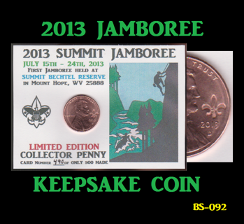 2013 Lincoln Cent Summit Scouting Jamboree Keepsake Coin C-015 h