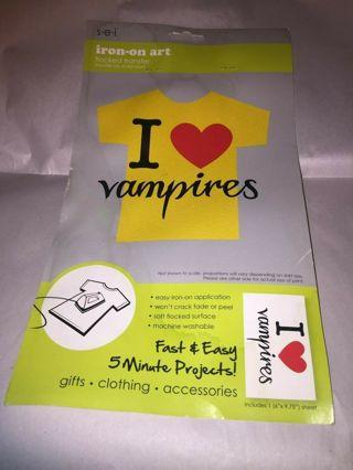Cool I Heart (love) Vampires Iron on flocked transfer art #6a