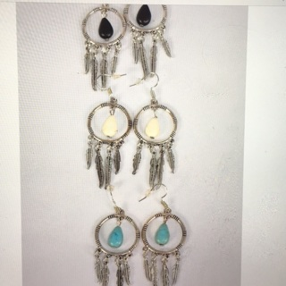 6 Pack Antique Look Dream Catchers Earring Lot