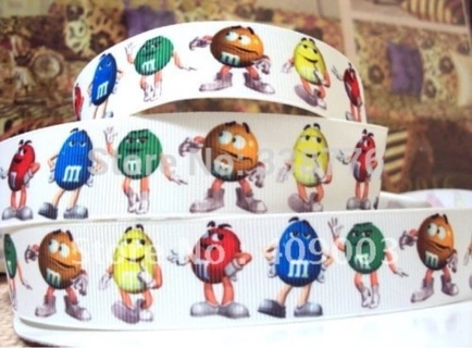 "M&Ms People Candies 1"" Grosgrain Ribbon 1 Yard NEW NEW"