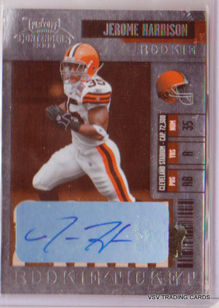 Jerome Harrison, 2006 Donruss Playoff Autographed ROOKIE Card #126, Cleveland Browns
