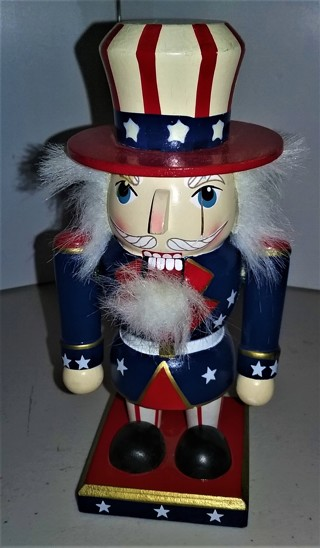 "Uncle Sam wooden Christmas Nutcracker - 6 1/2"" tall - Excellent condition"
