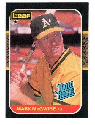 1987 Donruss Leaf Mark Mcgwire Rated Rookie