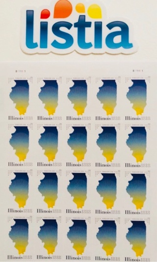 """One (1) Sheet of 20, 0.55 Forever """"Illinois"""" Stamps"""