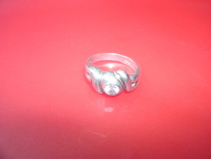 Hefty Sterling band Ring with clear stone Size 9