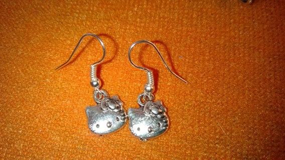 Tibetan silver hello kitty earring