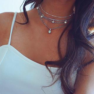 Women Fashion Clavicle Chain Silver Star Opal Pendant Necklace Bohemian Temperament Beach Jewelry