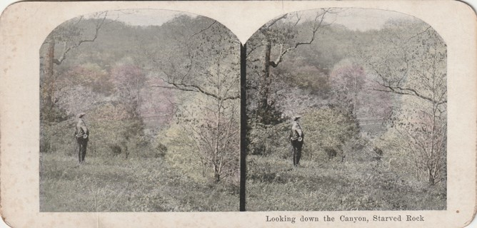 Vintage Early 1900-1920 Stereograph, Photo card: Wisconsin Dells: Down the Canyon, Starved Rock