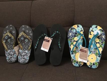 3 Pairs Women's Flip- Flops Size Medium 7-8 NWT