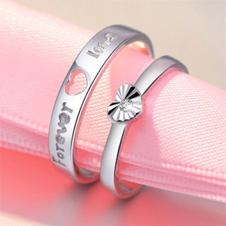 #10 Adjustable Crystal Stainless Steel Couple Promise Engagement Ring Wedding Band BestGift for Love