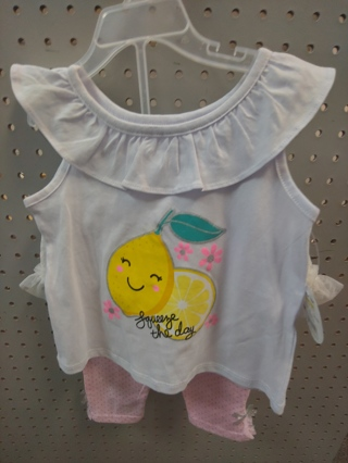 "NWT! REAL LOVE- Baby Girls 2pc set ""SQUEEZE THE DAY"" Size: 18MTH 100% COTTON"
