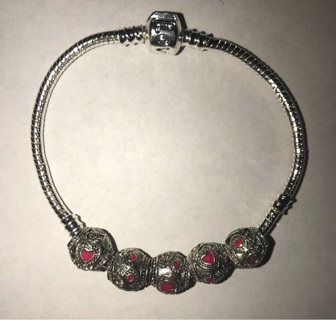 5 Pandora Style Beads with Pink Hearts
