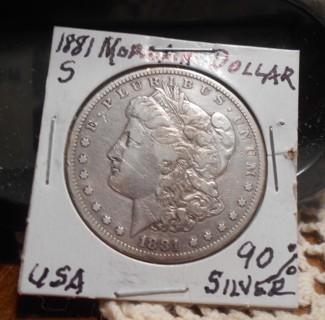1881-S Morgan Silver (90%) Dollar - Very Good Condition