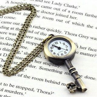 Retro Vintage Pocket Key-shaped Watch Necklace Wall Chart Pendant