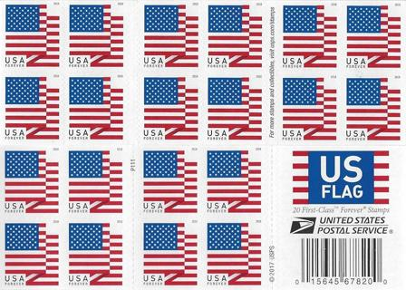 Free New Usps U S Flag Forever Stamps Book Of 20 2017 20