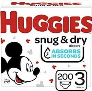 ⭐HUGGIES SIZE 3 SNUG & DRY 200 COUNT DIAPERS ⭐