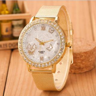 Women Lady Golden Band Butterfly Bracelet Watches Quartz Rhinestone Wrist Watch