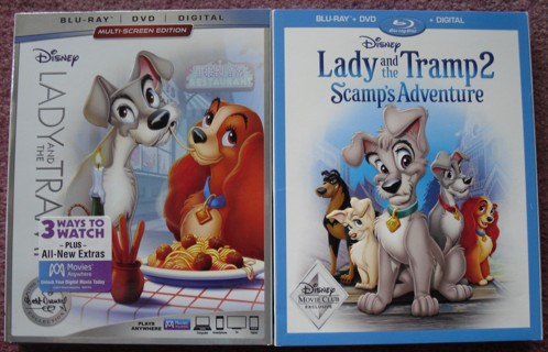 Walt Disney Production LADY AND THE TRAMP 1 & 2 Blu ray and DVD Sets