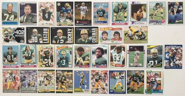 35 Green Bay Packers 1960s to 2000s Vintage Topps Fleer Pro Set Football Cards - Rodgers Favre Starr