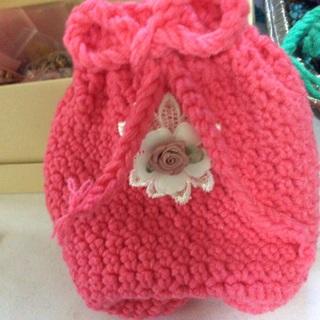 Hand Crochet Beautiful Pink Sack/Pouch.u