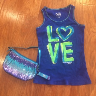 Girls JUSTICE Tank Top (14) and sequin Purse