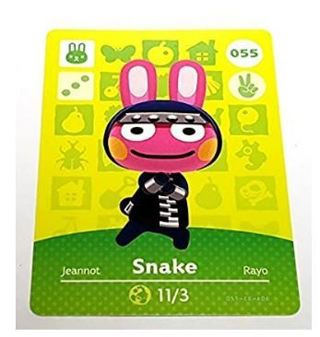 Nintendo Animal Crossing Happy Home Designer Amiibo Card Snake 55/100 video game card only