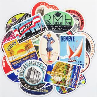 55 PCS Retro Style Travel Hotel Logo Hawaii Stickers