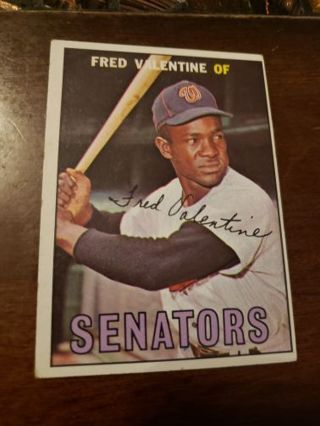 1967 Fred Valentine Washington Senators vintage baseball card