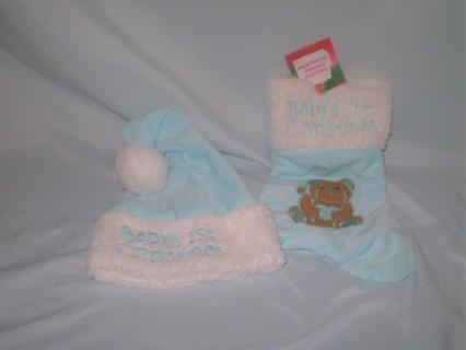 NWT BABY BOYS 1ST CHRISTMAS STOCKING & HAT